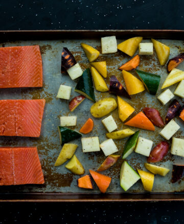 salmon and vegetables on sheet pan