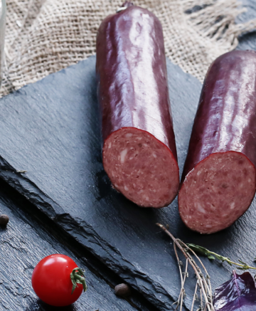 summer sausage on table